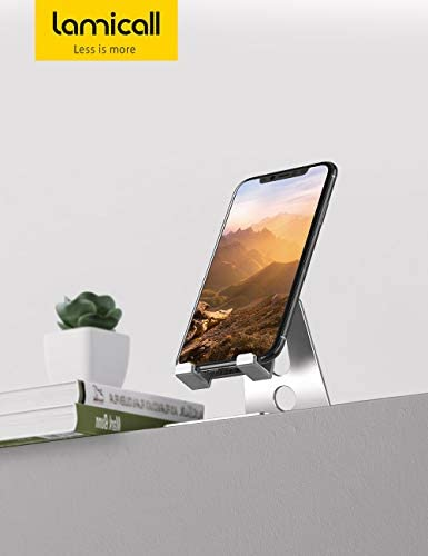 Adjustable Cell Phone Stand, Lamicall Desk Phone Holder, Cradle, Dock, Compatible with Phone 12 Mini 11 Pro Xs Max XR X 8 7 6 Plus SE Charging, Office Accessories, All Android Smartphone - Silver