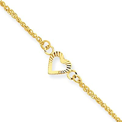 14k Yellow Gold Diamond-cut Hearts Anklet, 9-10 inch