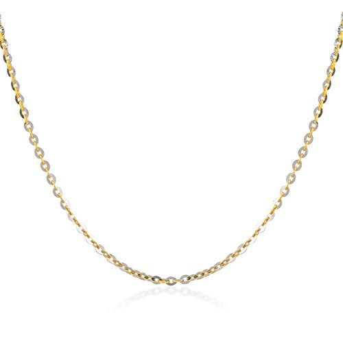 Gelin 14k Two Tone Gold 1.0 mm Pave Crystal Cable Ghost Chain for Women and Men,18