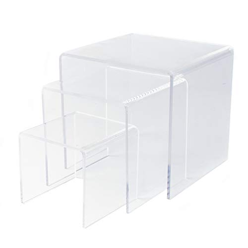 Clear Acrylic Riser Set of Three (3-Inch, 4-Inch, 5-Inch) by Super Z Outlet (1)