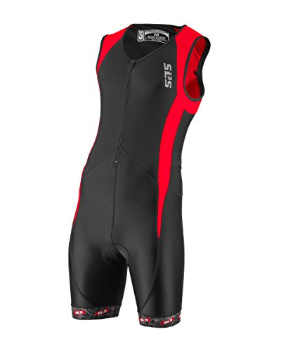 Men`s Triathlon Tri Race Suit - 2 Pockets Skinsuit Trisuit - Great Fit And Comfortable - Ideal From Sprint To Ironman (Black/Red, - Sleeve Long Tri Suit