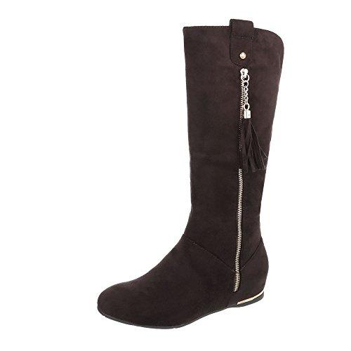Ital-Design Keilstiefel Damenschuhe Keilstiefel Keilabsatz/Wedge Keilabsatz Reißverschluss Stiefel Braun