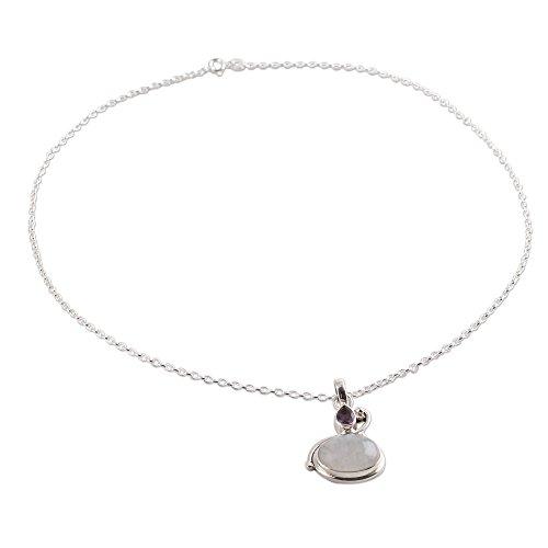 (NOVICA Multi-Gem Rainbow Moonstone .925 Sterling Silver Pendant Necklace, 18