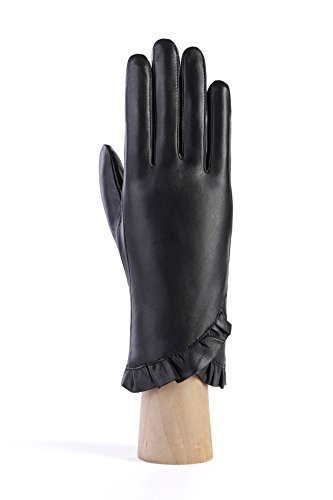 MoDA Women's Ms. Montreal Chic Ruffle Solid Leather Driving Gloves