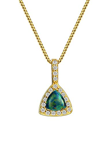 Green Opal Pendant - Mints 18K Gold Plated Opal Pendant Necklace Sterling Silver Triangle with Cubic Zirconia Accented Fine Jewelry for Women