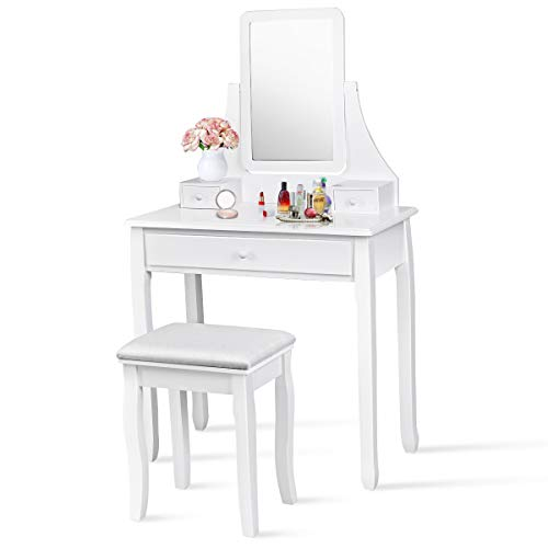 (Giantex Bathroom Vanity Dressing Table Set 360 Rotate Mirror Pine Wood Legs Padded Stool Dressing Table Girls Make Up Vanity Set w/Stool (Rectangle Mirror 3 Drawers) (White))