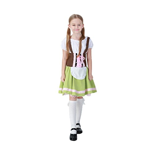 Lederhosen Costume Child - Jimcoser Halloween Kids' Oktoberfest Costune California Costumes Girls' Bavarian Bar Maid Costume Boys' Lederhosen Costume