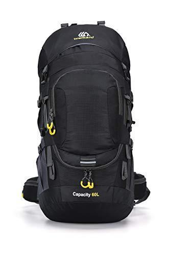 Weikani Internal Frame Hiking Backpack 60L/80L with Rainfly(Black-60L)