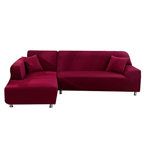 cjc Universal Sofa Covers for L Shape, 2pcs Polyester Fabric Stretch Slipcovers + 2pcs Pillow Covers for Sectional Sofa L-Shape Couch - Wine-Colored