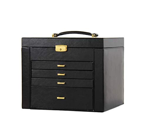 - Shirley Jewelry Box, Jewellery Case with Drawers, Jewellery Organiser with Mirror and Lock, for Rings, Bracelets, Earrings, Party Gift (Color : Black)