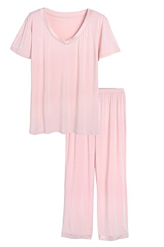 Latuza Women's V-Neck Sleepwear Short Sleeves Top with Pants Pajama Set 2X Pink