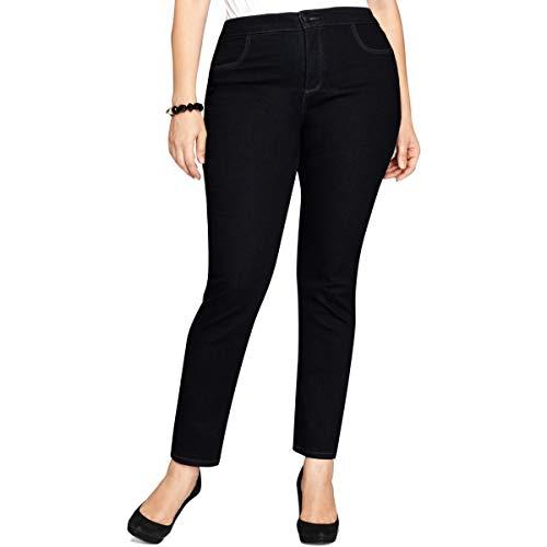 Style & Co. Womens Plus Tummy Control High Waist Straight Leg Jeans Blue 16W