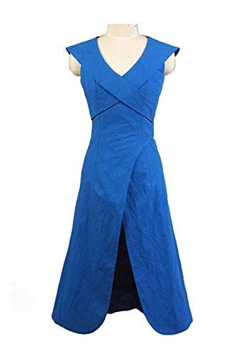 GOTEDDY Halloween Daenerys Cosplay Blue Dress Women Party Costume -