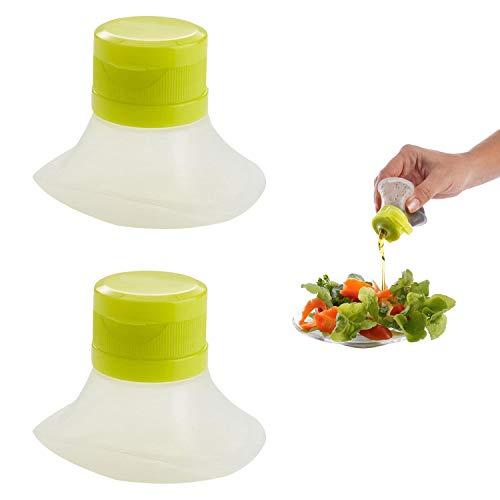 SAVORLIVING Contenedores para Salsas y Aliños 2Pcs Silicona Cajas De Salsa Mini Portátil Botella de Salsa para Crema...