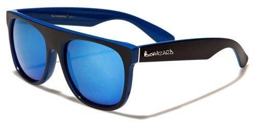 Blue Biohazard Flat Top Vintage Fashion Sunglasses Men Women Designer - Designers Female Top