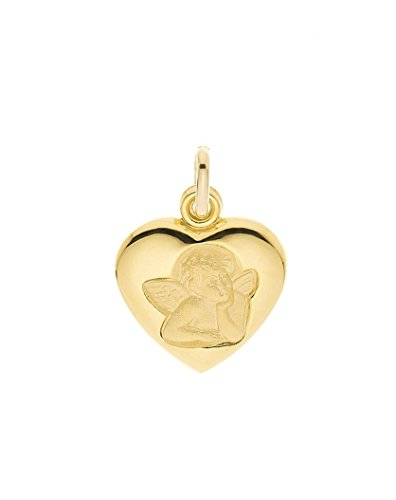 médaille coeur ange or jaune 18 carats