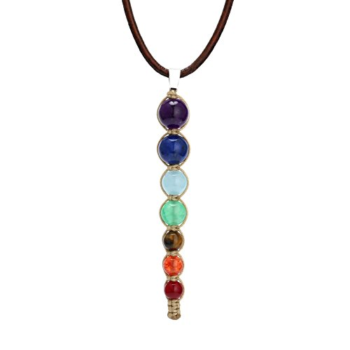 - Aobei 7 Chakra Synthetic Stone Pendant Necklace Reiki Healing Jewelry on Genuine Leather Cord for Women 16'' Brown