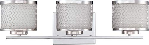 - Craftmade 16621CH3 Euclid Metal Mesh Vanity Wall Lighting, 3-Light, 180 Watts, Chrome (21