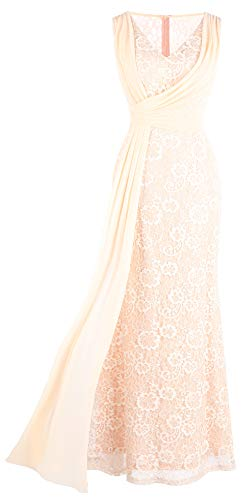Fashion Column - Angel-fashions Women's Pleated Lace V Neck Column Evening Dress Medium Apricot
