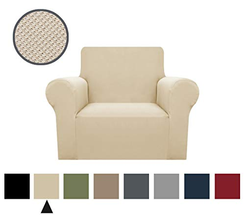 1-Pieces Sofa Cover Knitted Jacquard Spandex Sofa Slipcover Stay in Place Super Rich Furniture Cover/Protector, Skid Resistance (Beige, Chair) (Best Fabric To Reupholster Chair)