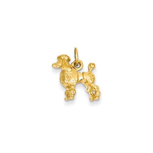 14k Yellow Gold 3D Textured Poodle Charm or (Black Poodle Charm)