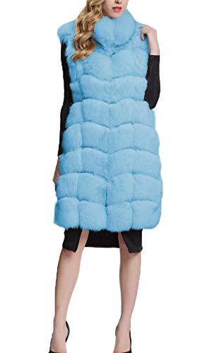 Gilet Vest Per Adulto Folobe Fur Womens 'soft Lightblue Faux wq6nHz7X