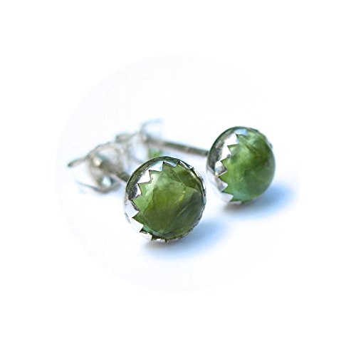 Peridot Stone Earrings (Peridot Gemstone Stud Earrings 5mm)