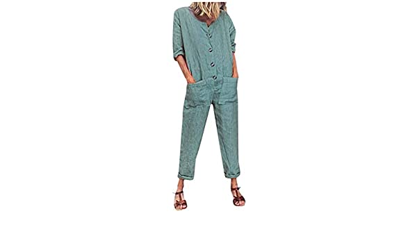 2019 Womens Jumpsuits and Rompers Elegant Kstare Women Casual V-Neck Short Sleeve Button Pockets Baggy Long Pants