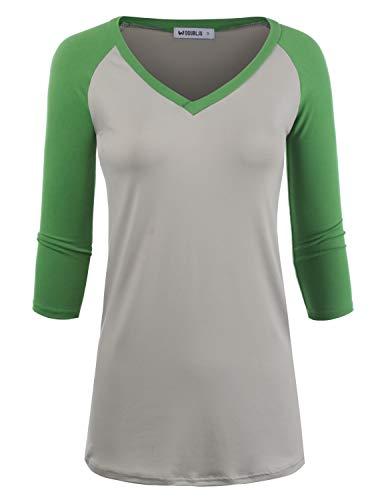 Doublju Women's Raglan Casual Basic Short Sleeve V-Neck Shirt, GREYGREEN L