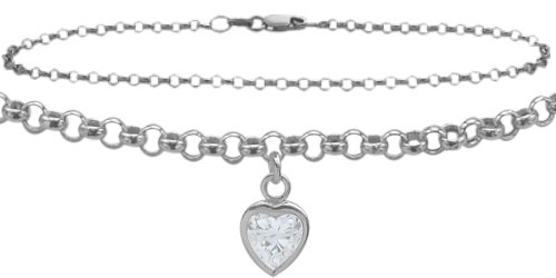 14K White Gold 9'' Belcher Style 0.85tcw. White Topaz Heart Charm Anklet by Elite Jewels