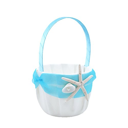 Abbie Home Organza Bowknot Wedding Ring Pillow + Flower Basket Set Romantic Beach Wedding Party Favor-Tiffany Blue by Abbie Home (Image #2)