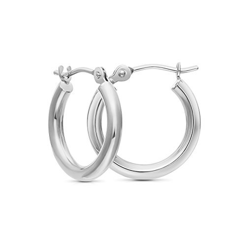 14k White Gold Polished Hoop (Tiny 14k White Gold Hoop Earrings, 12mm Diameter (white-gold))