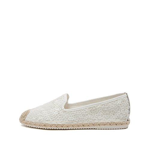 Femelle Sauvages Chaussures Plates Dames Sandales Simples Dhg Printemps 38 Toile Dame blanc D'été Sauvage Ronde De Paillettes Tête fCwx5