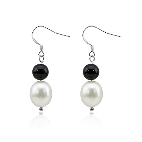 White Freshwater Cultured Pearl and Black beads Earring with Sterling Silver fishhook (Black Fish Earring)