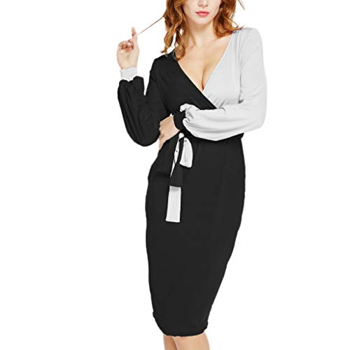 - Women's Party Slim Dress Width V-Neck Cross Wraped Bow Belt Long Sleeve Goddess Charmed Gown Jumpsuit (M, Black)