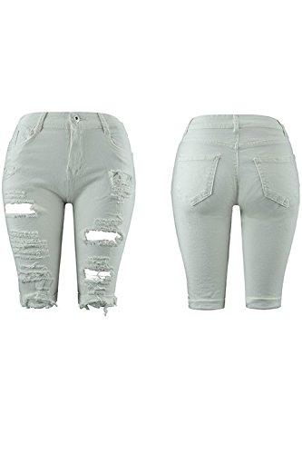 Haute Arrache t Taille Les Jeans Serrs Shorts A Suvotimo White xgYaqtUAA