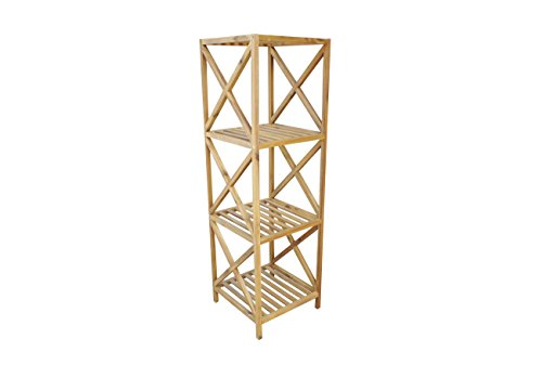 Solid Acacia Wood 4 Tier Bathroom Shelf & Plant Shelf. Multi Use Storage Standing Shelving Unit. Perfect for both Outdoor and Indoor by Amayo Home