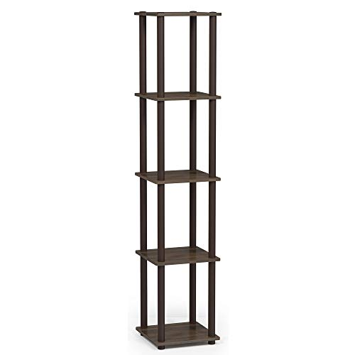 Furinno 99132WN BR Turn-N-Tube Corner Square Display Multipurpose Rack, Round, Walnut Brown