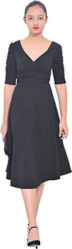 Mary Crafts Womens 3/4 Sleeve Ruched Waist Classy V Neck Casual Cocktail Dresses 10 Black