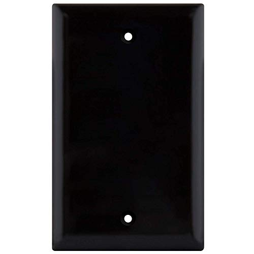 Blank Wall Plate Cover, 1 Gang Faceplate, Thermoplastic/Nylon Outlet Cover, Cover Unused Phone Jacks, Electrical Boxes, Receptacles, Electric Outlets (1 Pack, Black)