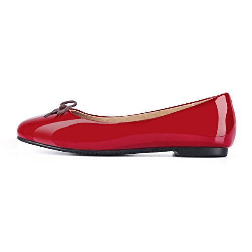 Red Leather Flats Shoes (onlymaker Comfortable Vintage Round Toe Cute Sweet Bow Knot Accent Slip On Dress Ballet Flats Red US10)