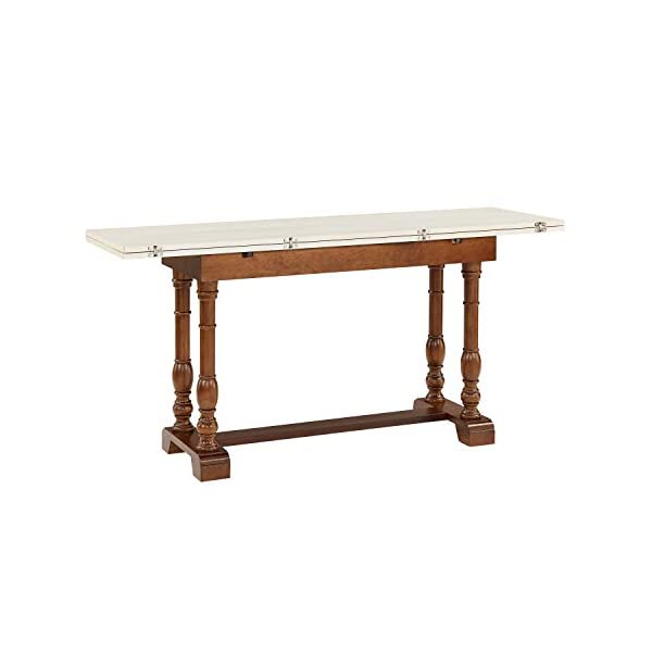 SEI Furniture Edenderry Folding Trestle Convertible Console Dining Table, Dark Tobacco, Ivory