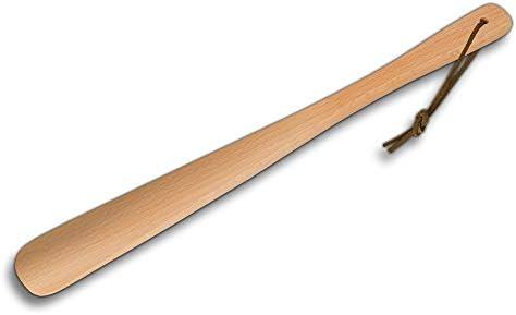 HOFMEISTER schoenlepel van hout uit Europa lengte 37 cm zacht en eenvoudig aan en uittrekken van schoenen en laarzen stabiele schoentrekker van geolied beuken geschikt voor op reis