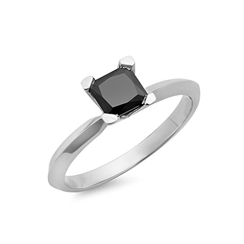0.75 Carat (ctw) 14K White Gold Black Diamond Solitaire Bridal Engagement Ring 3/4 CT (Size (14kw Diamond Engagement Ring Setting)