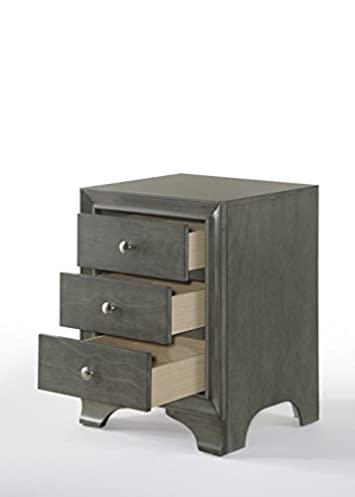 Acme Blaise Nightstand with 3 Drawers and USB Dock, Gray Oak