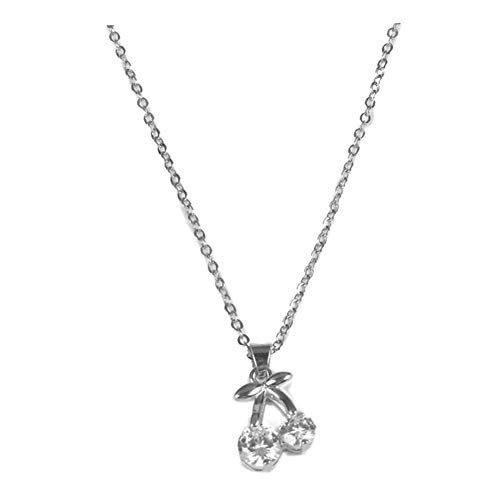 925 Sterling Silver Plated AAA Cubic Zirconia Cherry Charm Pendant Choker Necklace,Collarbone chain