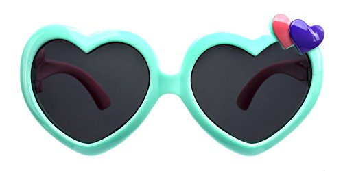 TIJN Kids Flex Rubber Polarized Heart Shaped Sunglasses for Girls - Heart Sale Glasses Shaped For