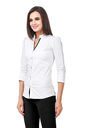 159d476755cb22 Fairiano Women's Cotton Lycra Solid 3/4 Sleeve Formal Shirt: Amazon.in:  Clothing & Accessories