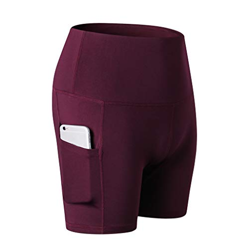 Unisex Performance Compression Pants High Waist Workout Yoga Shorts Tummy Control Side Pockets Running Sports Wine Red