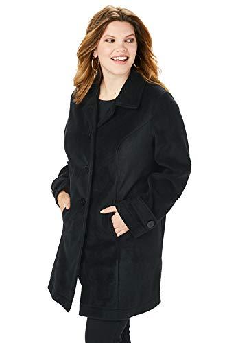 Roamans Women's Plus Size Plush Fleece Jacket - Black, L